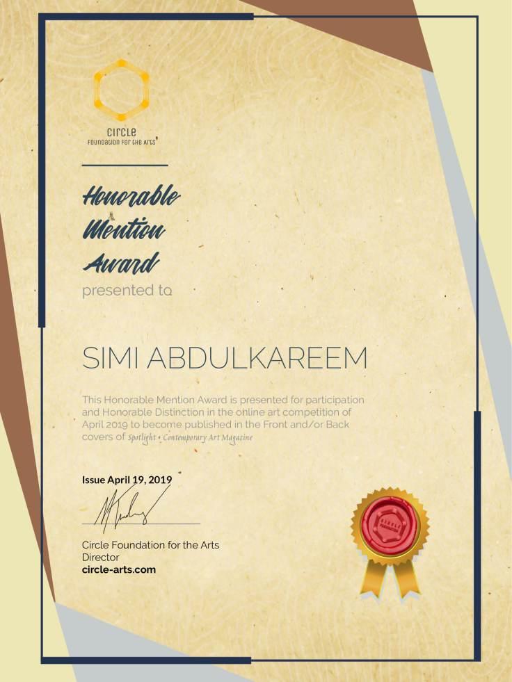 CFACoverContest-Honorable Mention Simi Abdulkareem